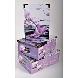 BOITE DE RANGEMENT ELEGANT Lot de 3 boites de rangement en carton imp