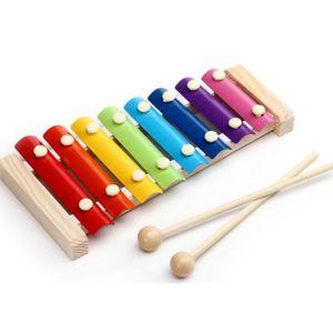 INSTRUMENT DE MUSIQUE Jouet Xylophone 8-Notes Clavier Multicolor en Bois