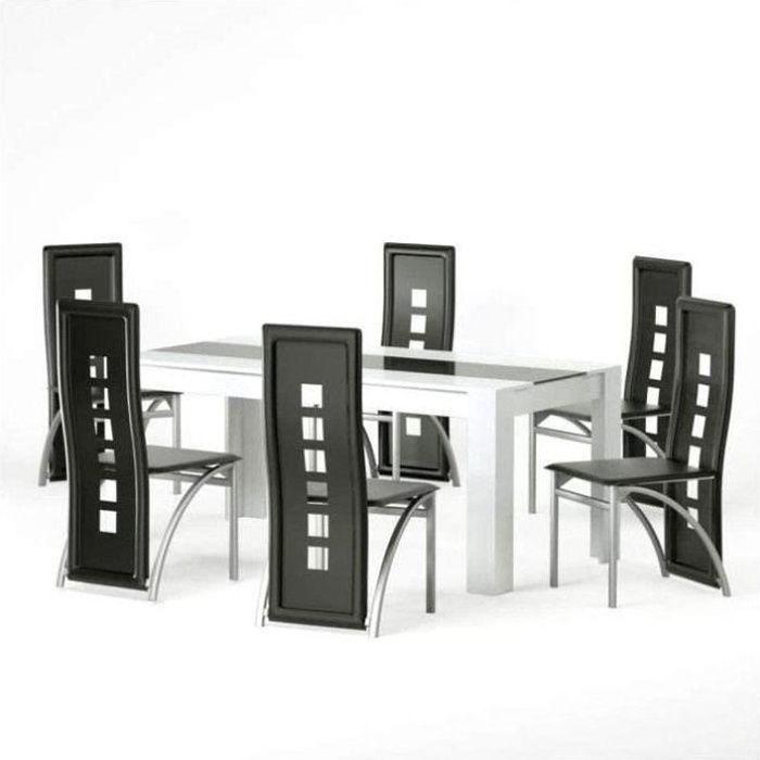 Lot de 6 Chaises de salle à manger Noir Cuir artificiel design moderne