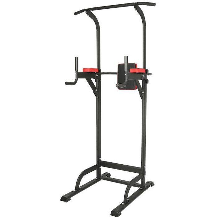 Barre de Traction pour Musculation à Domicile - Chaise romaine - noir et rouge