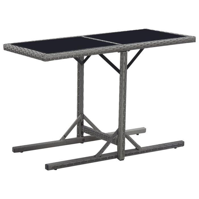 Table de jardin Noir 110x53x72 cm Verre et résine tressée -JID