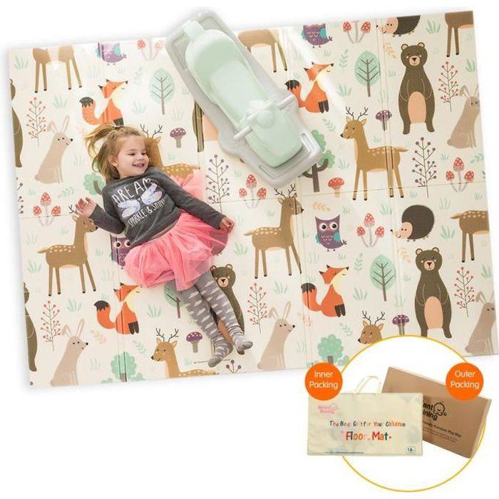 Tapis de jeu pour Bébé Enfant Tapis d'Éveil et de jeux pour Bébé Tapis 200 x 150cm pliable en mousse antidérapant imperméable