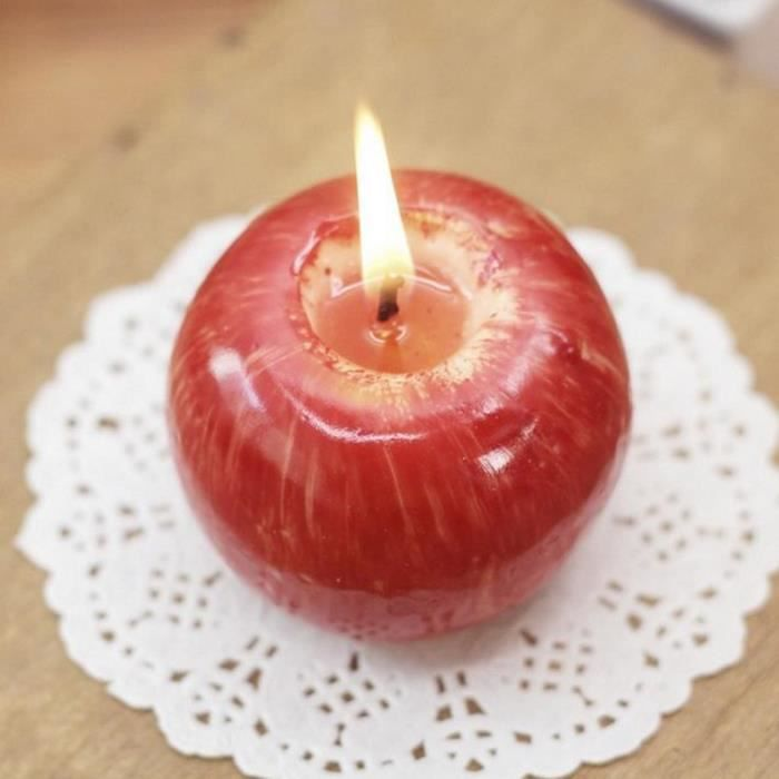 Accueil Pomme rouge Forme Fruit Bougie parfumée Cadeau Décoration de mariage Saint-Valentin Lampe à bougies de Noël/taille S