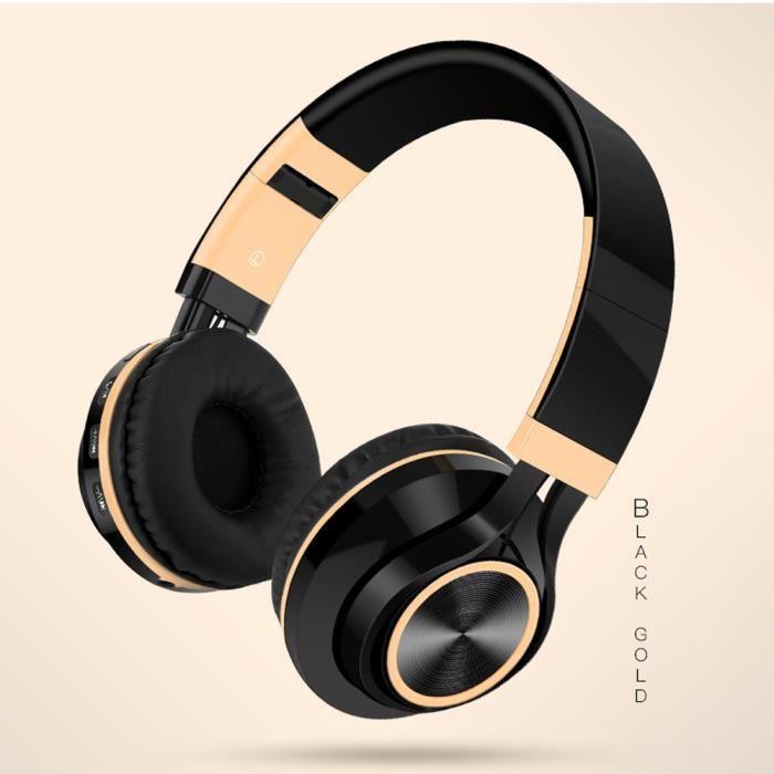 Casque stéréo hi-fi sans fil pliable avec écouteurs Bluetooth avec carte micro SD - TF_Accessoires621
