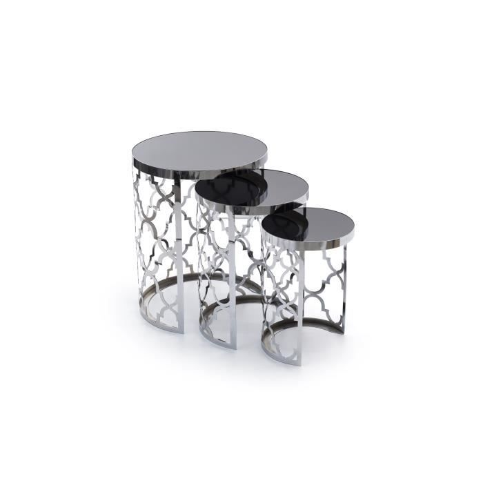 Table gigogne chromée lot de 3