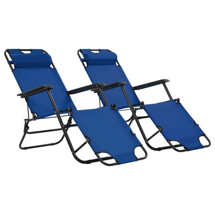 2 Chaises longues pliables-Transat Jardin pliant extérieur Camping avec repose-pied Acier Bleu