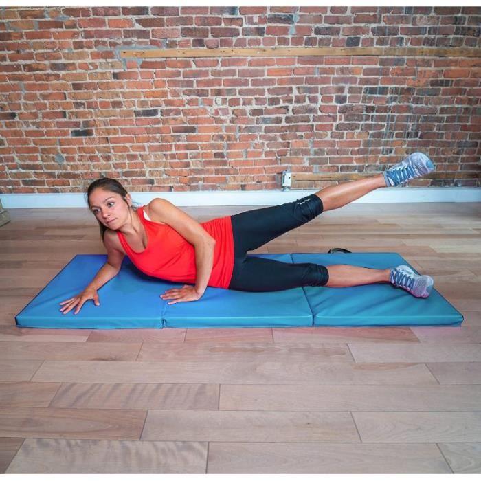 180 x 60 x 5 cm Tapis Gym Pliable & Matelas de Fitness Portable & Natte de Yoga Sport avec poignee ( Bleu clair )
