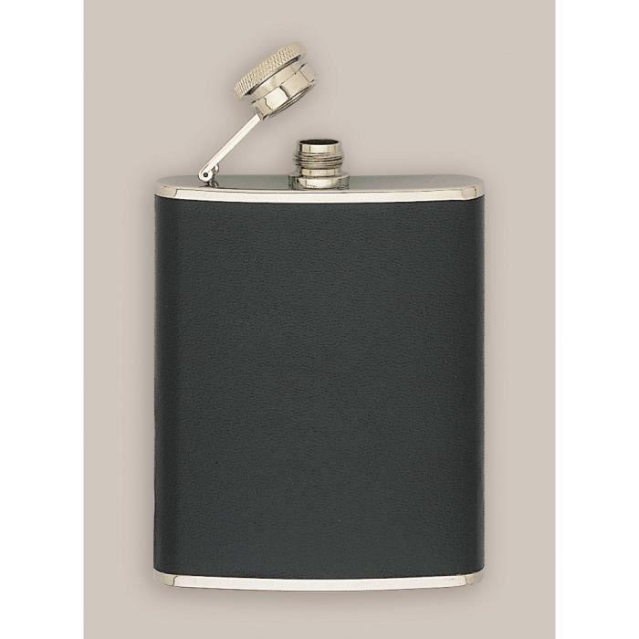 Flasque inox gainée cuir,180 ml