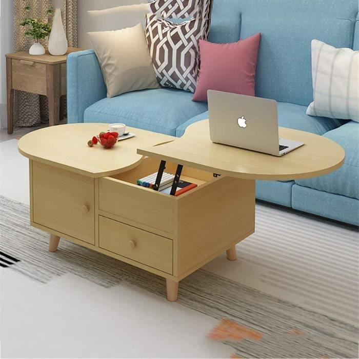 TABLE BASSE SALON Table Basse Moderne Multifonction pour Le Salon des Petits Appartements, Table Basse Ovale en Bois avec tiroir 194