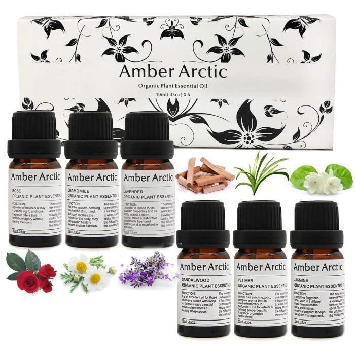 Rose, Santal, Jasmin, Camomille, Vétiver, Lavande Top 6 Ensemble d'huile essentielle, pour diffuseur, massage, SPA (10ML)