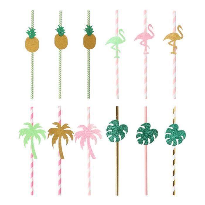 24 pièces pailles à boire sur le thème d'Hawaï en papier décors de fête pour la PAILLE NON JETABLE