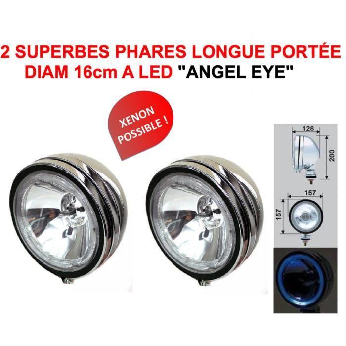 ANGEL EYE! 2 SUPERBES PHARES 16CM LONGUES PORTÉE AVEC CERCLAGE LED ! SERIE LIMITEE CHROMÉE VERRE BLANC ! RAID PREPARATION 4X4