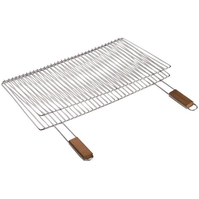 COOK Grille barbecue double rectangulaire - 60 x 40 cm