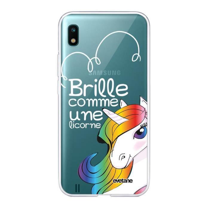 Coque Samsung Galaxy A10 360 intégrale transparente Brille comme une licorne Ecriture Tendance Design Evetane