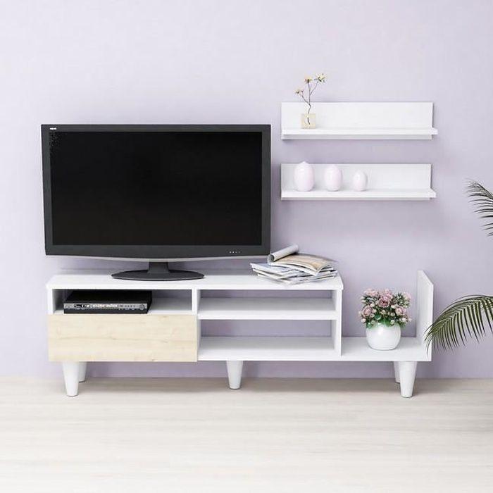 HOMEMANIA Lena Meuble TV avec étagères, portes, tablettes - du salon -Blanc, Chêne en Bois, 148,2 x 29,5 x 45 cm