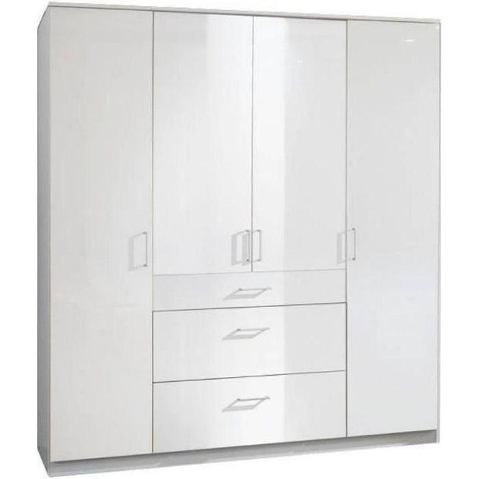 Armoire COOPER 4 portes 3 tiroirs largeur 179 laqué blanc / blanc blanc Bois Inside75