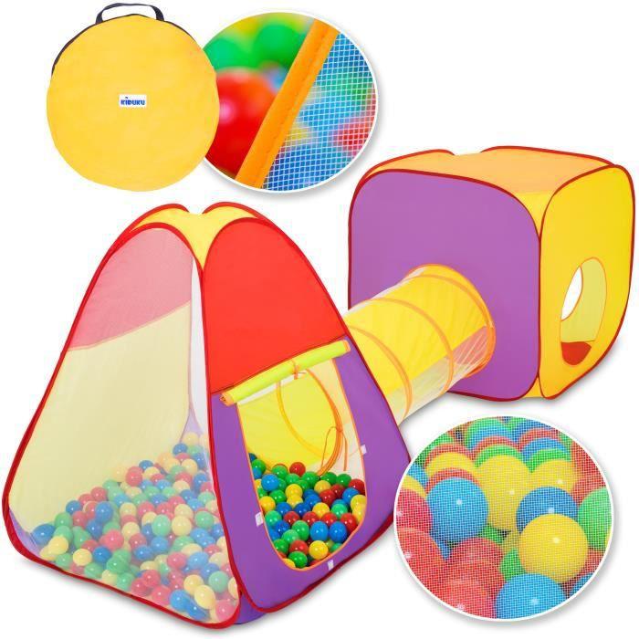 KIDUKU Tente de jeu pliante 3 en 1 + 200 balles + étui de transport pour l'intérieur et l'extérieur