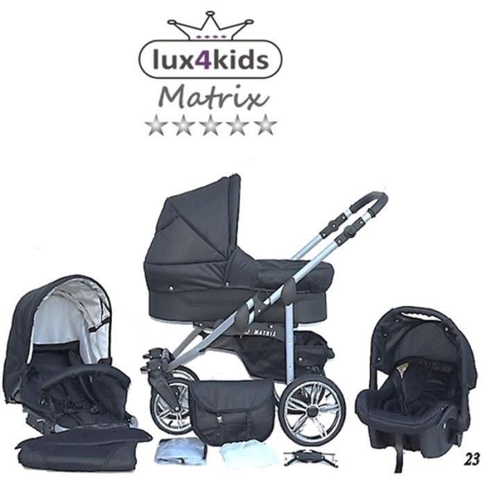 Matrix 2 Poussette Combinée 3en1 Set été Roues pivotantes Nacelle Siège Auto Poussette Canne 23 noir & noir