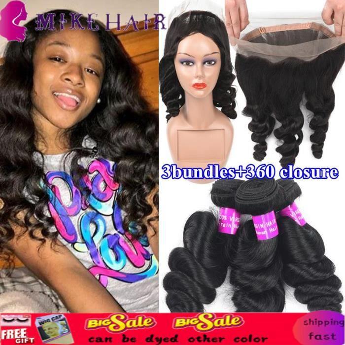 LOOSE WAVE 9A Bundles malaisiens de cheveux vierges cheveux 3 Bundles aves 360 de dentelle closure(30 32 34+20-closure)