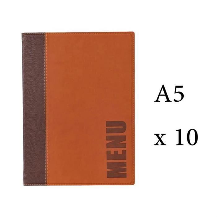 Lot 10 protège-menu Tendance format A5 couleur marron - Porte menu hôtel restaurant - Securit 6 + 2 (14 vues totales) Similicuir