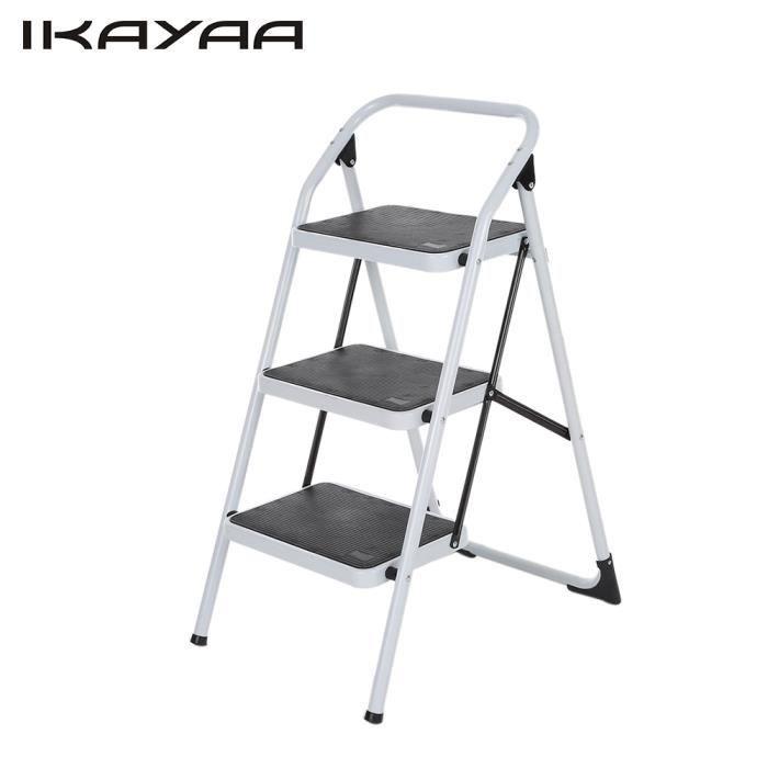 IKAYAA 3 marches Escabeau antidérapante pliable 150KG Capacité en Fer Multi-usage