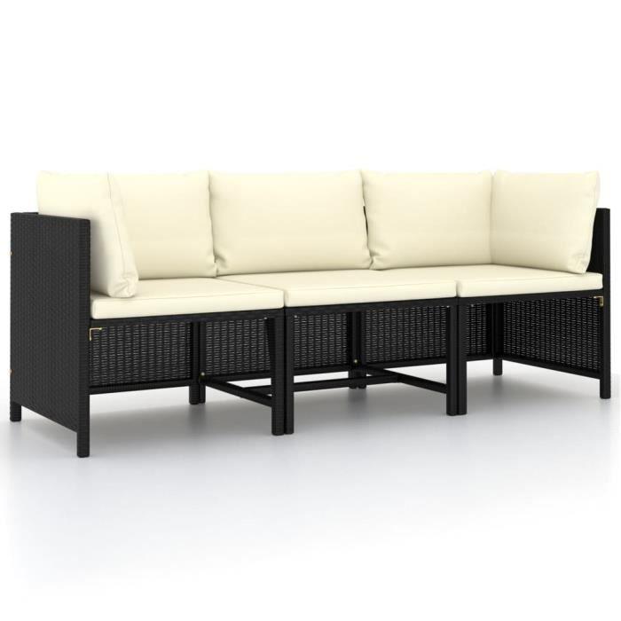 vidaXL Canapé de jardin à 3 places avec coussins Noir Résine tressée,Q253