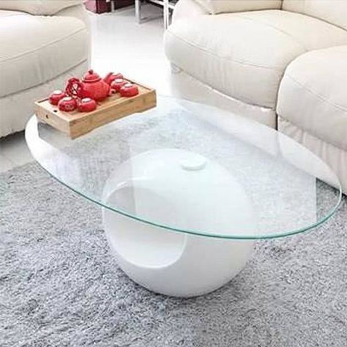 TABLE BASSE DESIGN BLANCHE EN VERRE MAXUS - Achat   Vente table ... b79075e25d4a