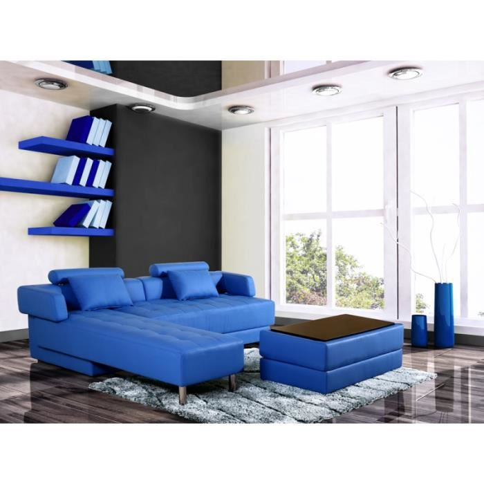 canap d 39 angle winch cuir synderme bleu achat vente canap sofa divan cdiscount. Black Bedroom Furniture Sets. Home Design Ideas