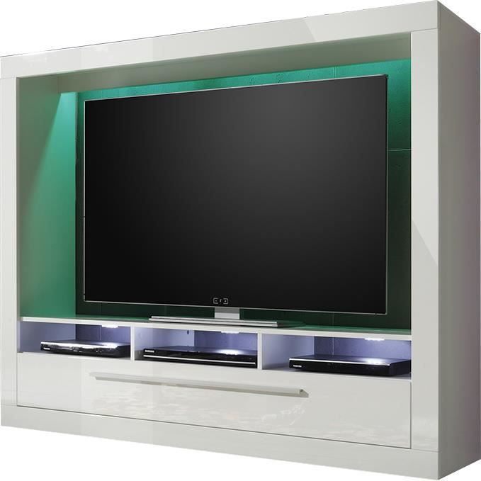 Meuble tv blanc 3 niches et 1 tiroir achat vente for Meuble living blanc