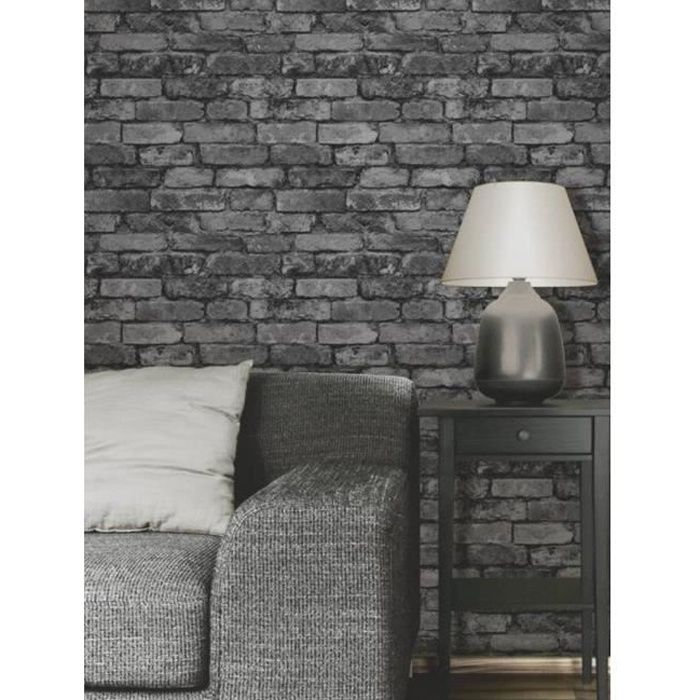 papier peint effet de brique gris noir achat vente. Black Bedroom Furniture Sets. Home Design Ideas