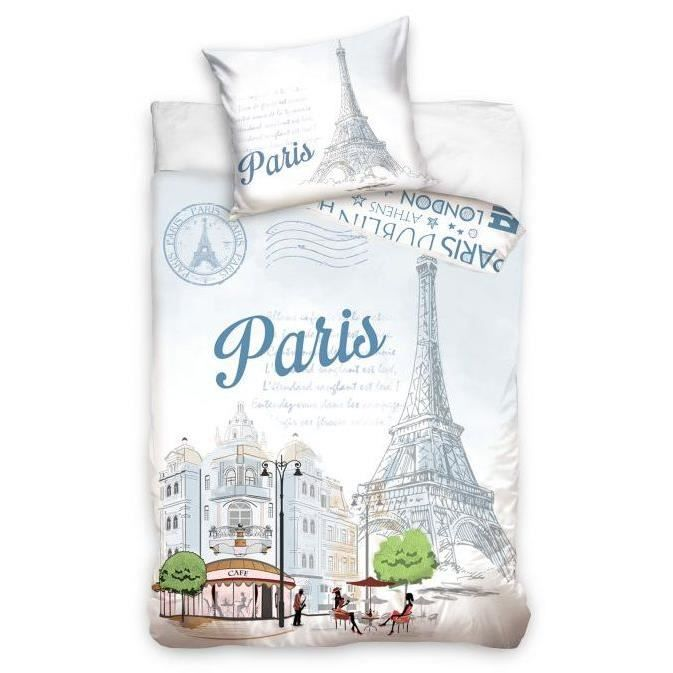 paris linge de lit parure housse de couette taie achat vente pack linge de lit cdiscount. Black Bedroom Furniture Sets. Home Design Ideas