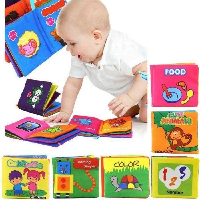 6 Pcs Early Learning Doux Tissu Jouet Bebe Livre Pour Les Tout Petits Bebes Enfants Bebe Douche Au Dessus De 3 Mois Enfants D03b2