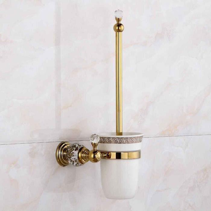 Laiton cristal porte-brosse toilette mural brosse salle de bains  porte-gobelet en céramique