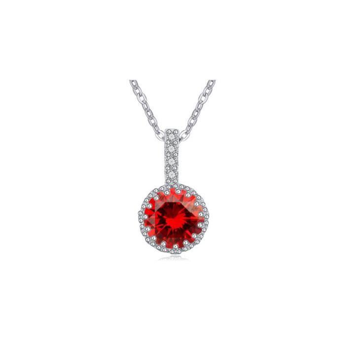SAUTOIR ET COLLIER Pendentif Cristal Cubic Zirconia Rouge et Plaqué R