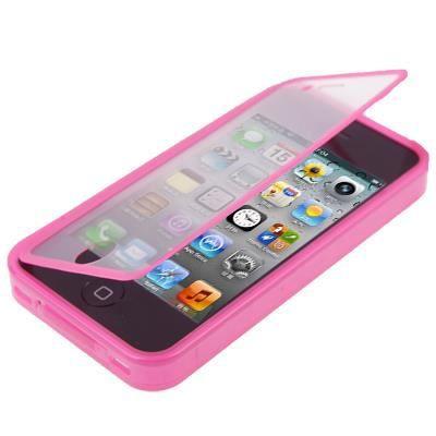 coque silicone iphone 4 4s avec rabat tactile rose