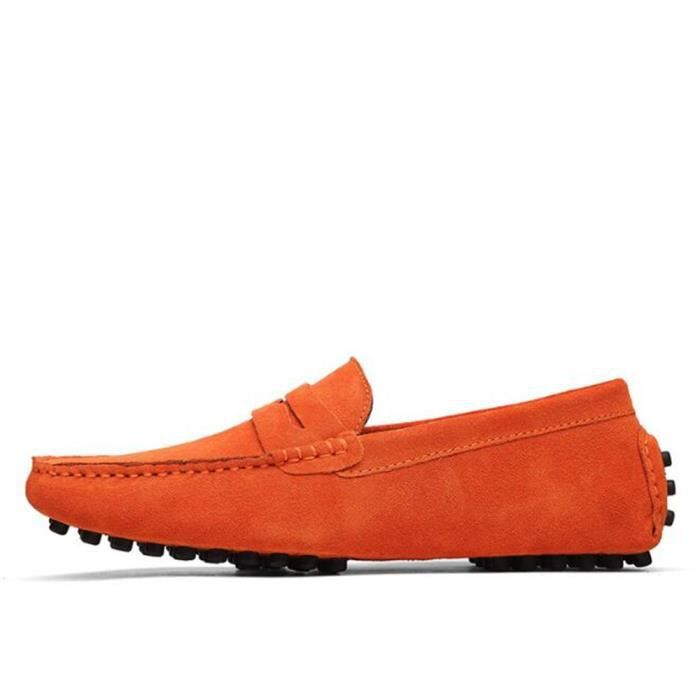 Chaussures Comfortable Cuir Ultra TYS XZ071Orange42 Hommes Mocassins Appartements Comfortable Ultra Cuir Mocassins Hommes vfSHSx