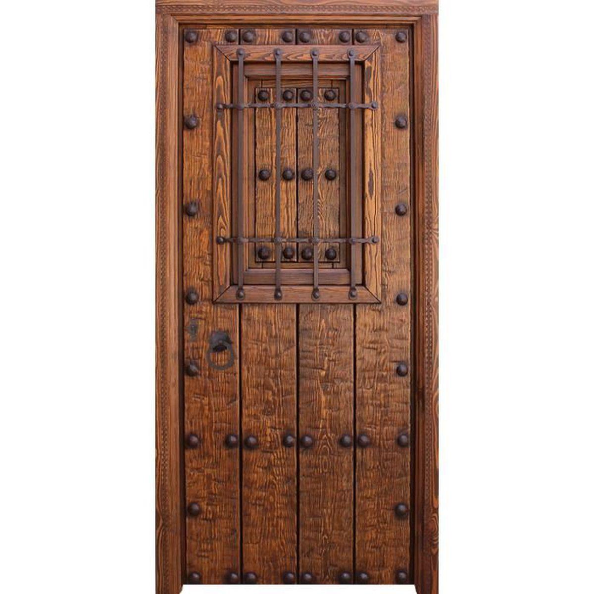 Porte D Entrée En Bois Massif Prix porte d'entrÉe en bois massif alcudiar 99x211cm - achat