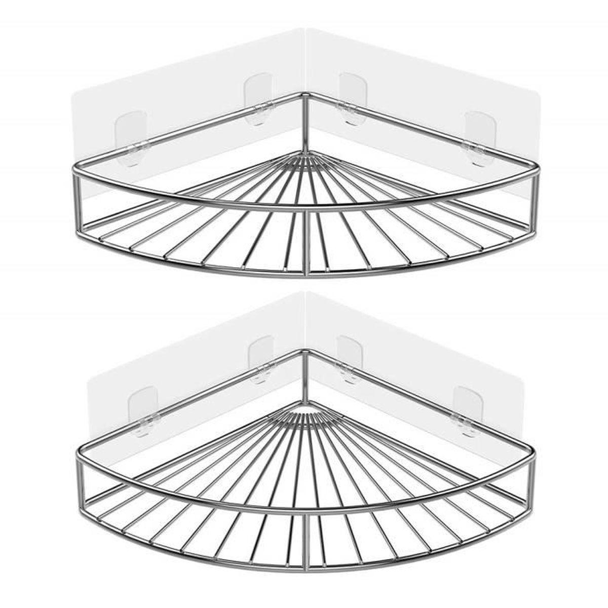 2pcs Adhésif étagère Dangle Serviteurs De Douche Salle De Bains Triangulaire Pour Rangement Acier Inoxydable Sans Percer
