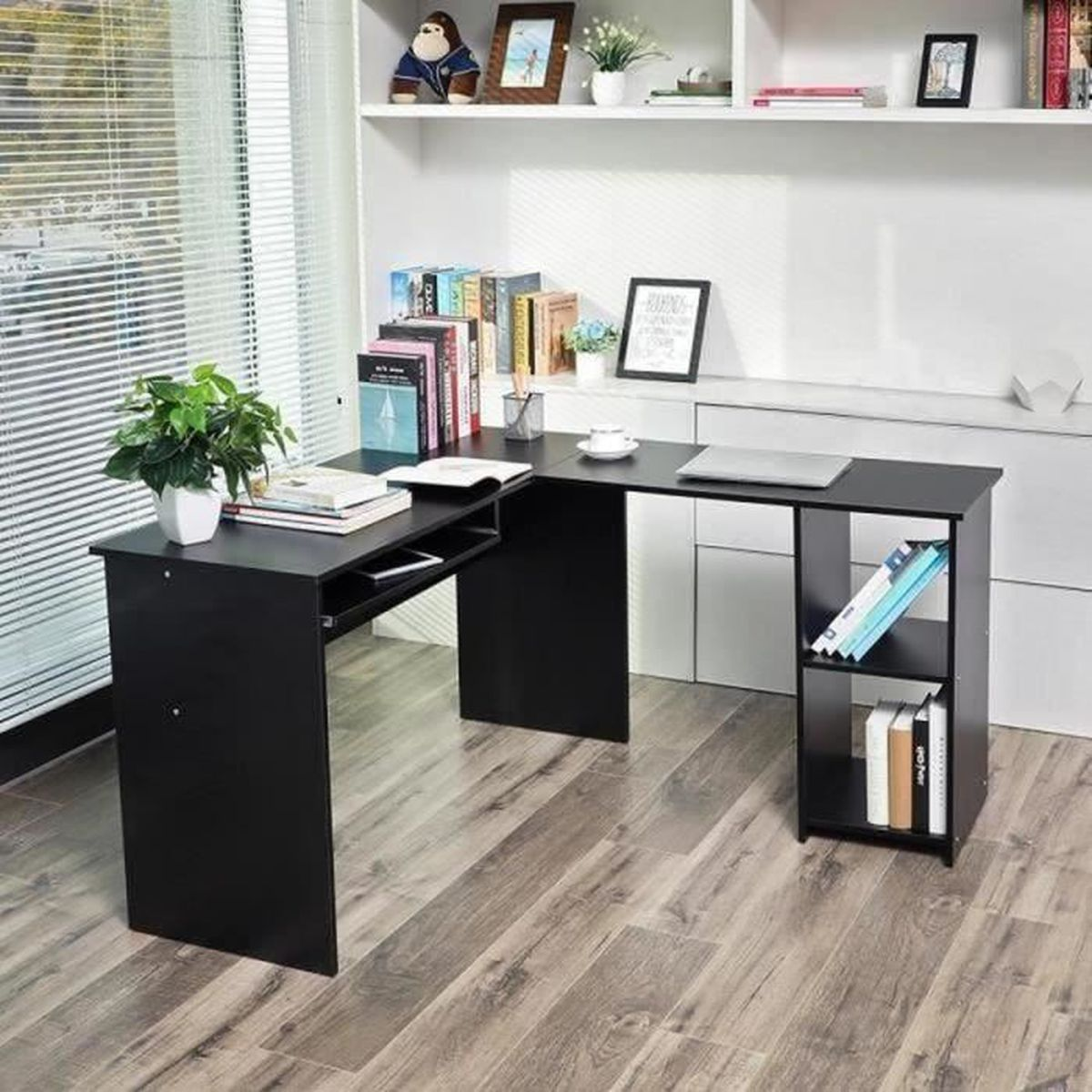songmics bureau informatique table informatique meuble de bureau pour ordinateur noir lcd810b. Black Bedroom Furniture Sets. Home Design Ideas