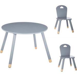 TABLE ET CHAISE Set Table douceur rose + 2 chaises douceur gris At
