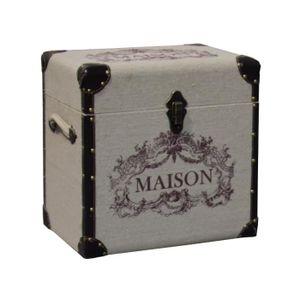 COFFRE - MALLE Coffre Malle Boîte de Rangement Bois et Tissu 43x2