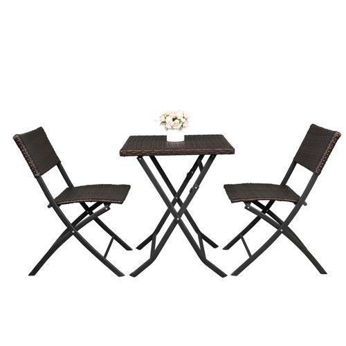 Salon de Jardin resine 2 places - table basse et 2 Chaises Pliables - Marron