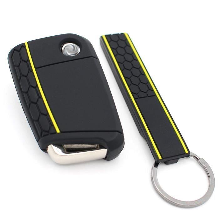 Finest-Folia - Coque en silicone VB pour clé de voiture à 3 boutons Noir-jaune-bleu nuit 760