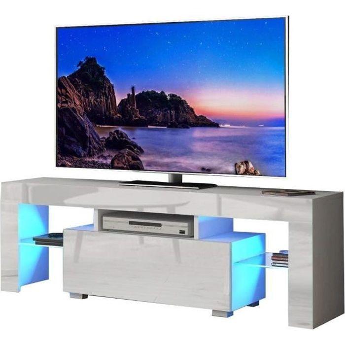 Meuble TV / Banc TV - LED - 130 cm - Blanc