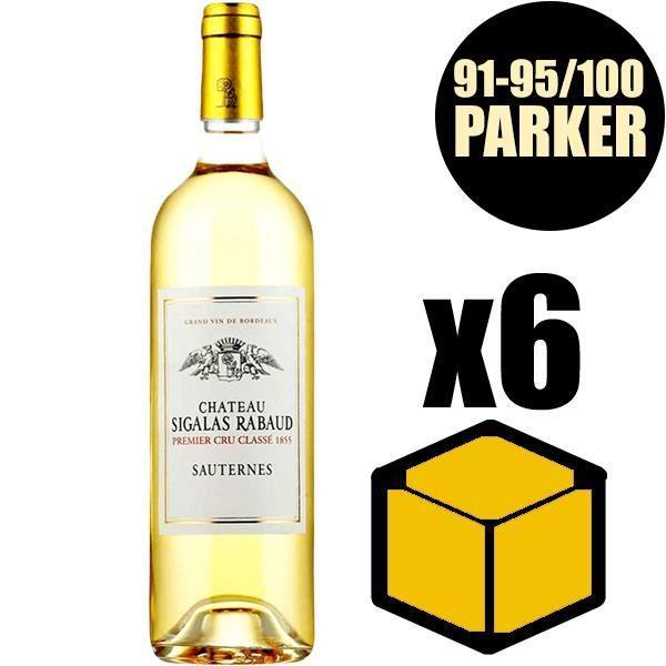 X6 Château Sigalas-Rabaud 2015 75 cl AOC Sauternes 1er Cru Classé Vin Blanc Vin Liquoreux