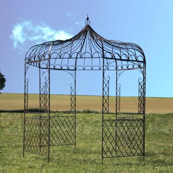 Gloriette Tonnelle en Fer de Jardin Ronde Marron ø250 cm Pergola 14303-Tonnelle