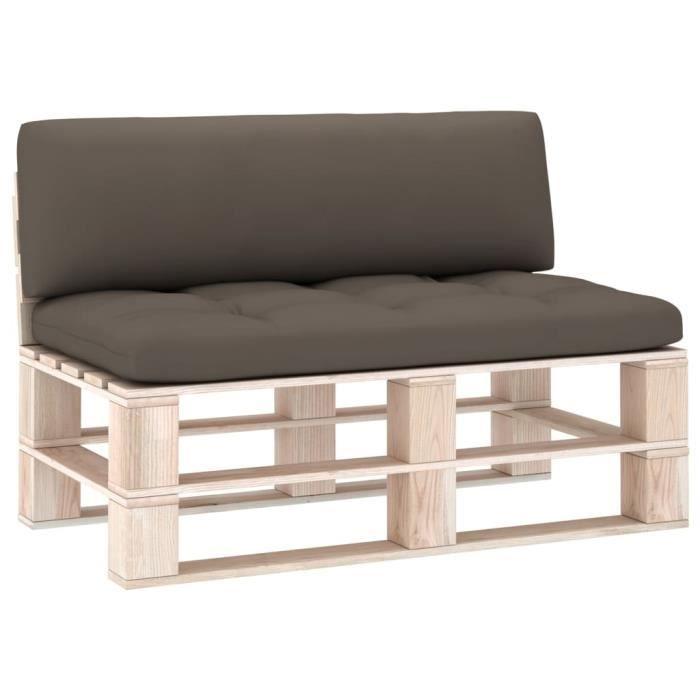 Bonne qualité - Lot de 2 Coussin de canapé palette - Coussin de banc Coussin D'extérieur Coussin de Chaise Taupe @6005 :