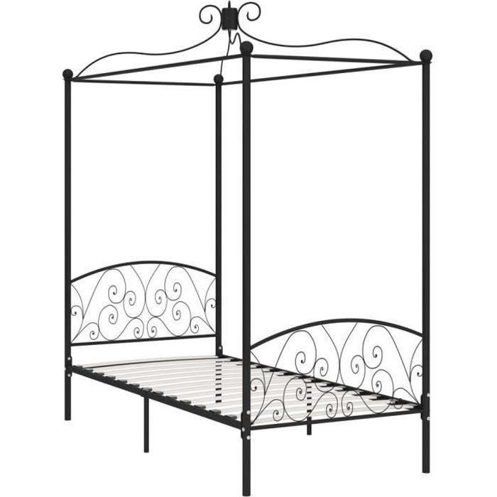 Jardin - Lit adulte à baldaquin - Lit enfant Lit pour 1 personnes Structure de lit Classique Noir Métal 90 x 200 cm Ancien 13469