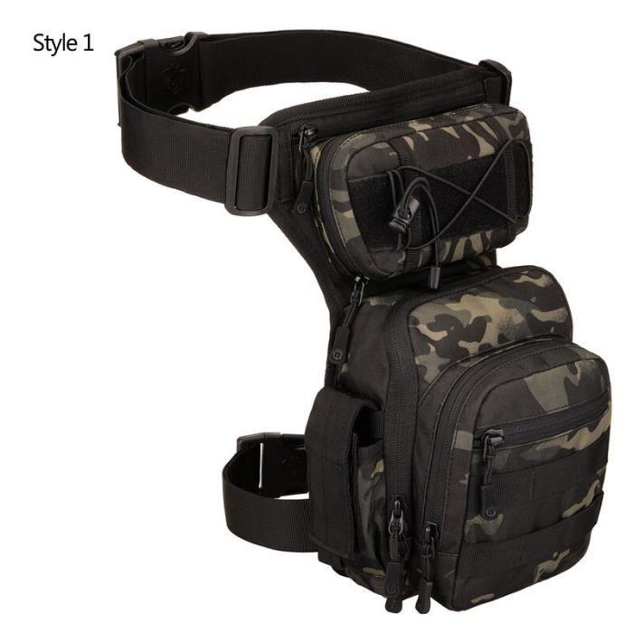 Style 1 Camouflage -Sac à ceinture tactique en Nylon, sacoche à jambe tombante, outil banane Camping randonnée Trekking militaire, s