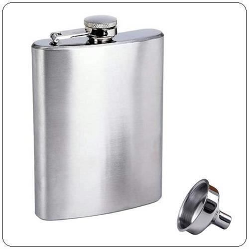 XY Hip Flask Flasque à Alcool 8Oz Cognac Whisky en Acier Inoxydable Inox+Entonnoir - XYVSO827A2223